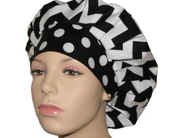 Scrub Hats - Chevron Classic Black And White With Polka Dots