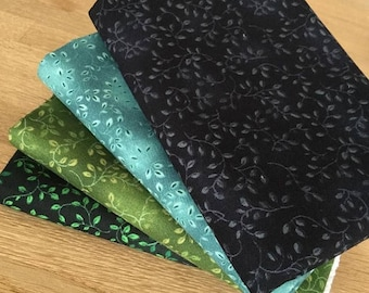 AUTUMN VINES in cool colours Fat Quarter Bundle 100% cotton ~ green blue leaf fabric