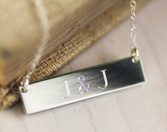 Initials Necklace - Engraved Initials Necklace - Anniversary Personalized Necklace