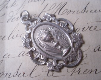 Antique French Solid Silver 1st Communion Pendant,French Crab Hallmark,Religious, Catholic, Christian