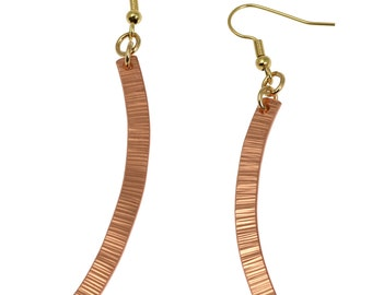 Chased Copper Drop Earrings  - Makes a Unique 7th Wedding Anniversary Gift!