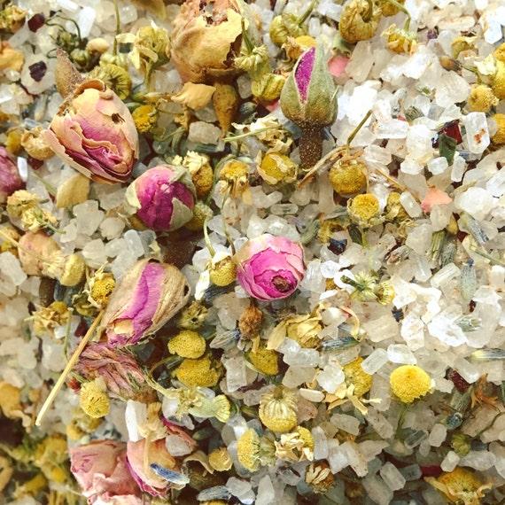 HERBAL BATH TEA {Organic Lavender, Chamomile, Rose, Sea Salt & Essential Oil, Cotton Bag}