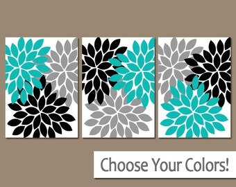 Turquoise Black Gray Wall Art, Bedroom Canvas or Prints Bathroom Decor  Bedroom Pictures, Flower Pictures, Flower Burst Dahlia Set of 3 Art