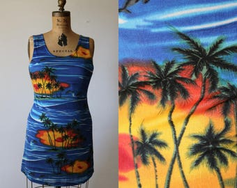 Palm Tree Mini | s/m stretch 90s bodycon sleeveless short summer snu dress beach scene dolphins sea punk vaporwave