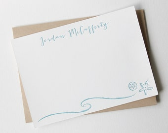 Letterpress cards custom with name, personalized stationery, letterpress notecards with ocean theme, starfish, sand dollar, waves, seaside