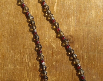 Smokey Quartz & Garnet Necklace with Sterling Silver Bali Beads