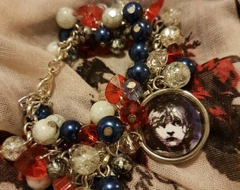 Unique Les Misérables Gift | Silver-plated | Loaded Glass Bead Statement Bracelet with 20mm Glass Pendant | Handmade in Scotland