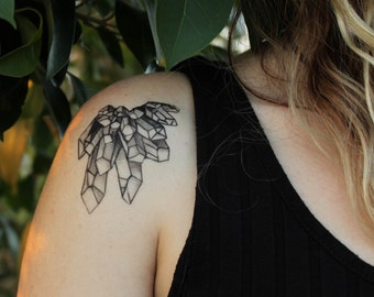 Crystal Quartz Cluster Temporary Tattoo, Amethyst, Original Design, Black Line Nature Tattoo