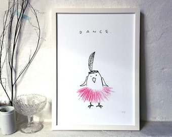 "DANCE - archival fine art print - A3 // Fine Art Print 29,7x42 cm / 11.7 x 16.5""// Dancing Chicken - Illustration - Poster"