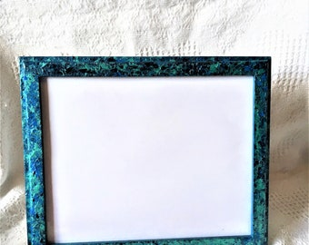 Seascape Collection- Acrylic Paint with Glossy Overlay, Hand Painted Picture Frame for One 7.5x9.5 Photo