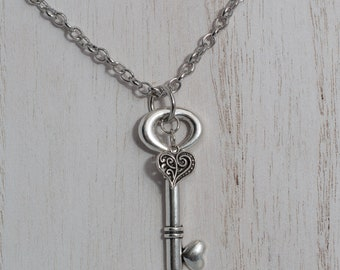 Silver Key and Heart Necklace