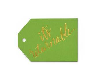 It's Returnable - set of 6 letterpress tags