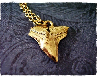 Gold Shark Tooth Necklace - Antique Gold Pewter Shark Tooth Charm on a Delicate Gold Plated Cable Chain or Charm Only