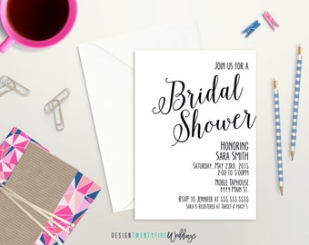 Simple Black & White Bridal Shower Invitation // Modern // Elegant Bridal Shower // PRINTABLE - DIY Print