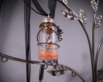 Orange, Fairy Dust Necklace, Pixie Dust Necklace, Magic Dust Necklace, Mini Cork Bottle, Fairy Dust, Pixie Dust, Wish Dust, Magic Dust