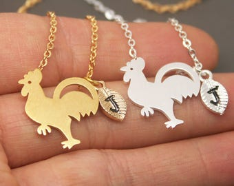 Rooster Necklace, Chicken Necklace, Bird Necklace, Animal Necklace, Chicken Jewelry, Rooster charm, Personalized Initial Necklace NB621