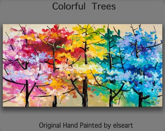 Original art Abstract Painting large Oil Painting, Multi Colors  Fall Landscape Painting 48x24x1.5