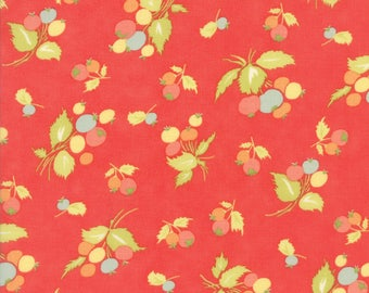 Fig Tree Coney Island Fabric Red Fig Tree Quilt Fabric Red Berry Quilting Fabric By The 1/2 Yard