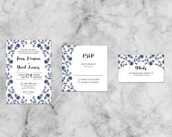 Janis Floral Suite   Customized Wedding Invitation Template Set