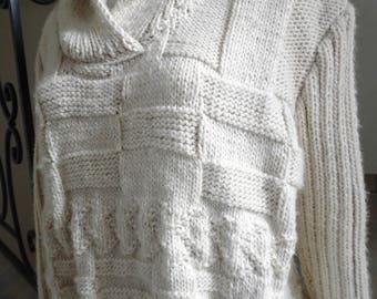 Sweater sport white ivory color geometric shawl collar