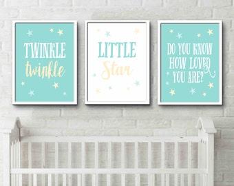 Twinkle twinkle little star do you know how loved you are nursery prints Aqua yellow wall art star nursery art
