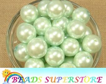 20 mm Light Mint Green Pearl Chunky Bubblegum Round Bead - Gumball Bead - Acrylic Chunky Bead - 10 pcs (CHP32)