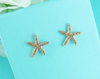 Rose Gold Starfish Earrings, wedding earrings, crystal earrings, rose gold rhinestone earrings, Nassau Rose Gold Starfish Earrings