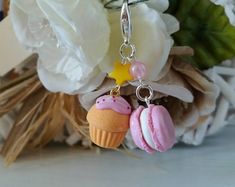 Cupcake and macaron charms : polymer clay glitter accessories - planner, midori, diary, bag, backpack, stitch marker - miniature food