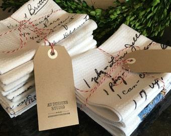 Recipe Tea Towel // Set of 3 // Personalized Gift, Handwritten Recipes