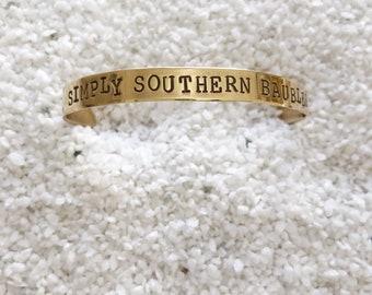 Hand Stamped Brass Cuff
