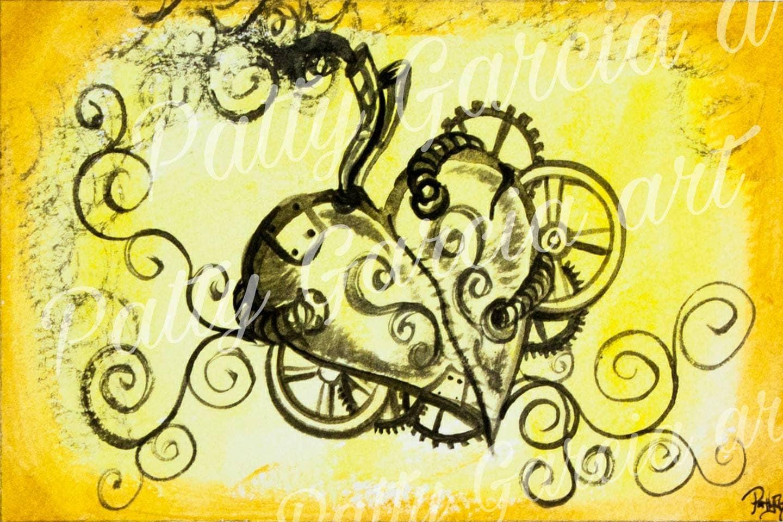 Steampunk Heart Golden Yellow PRINT Hearts Musical