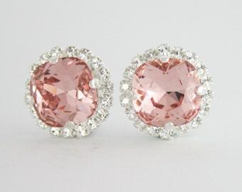 Blush earrings,blush rose gold earrings,rose gold earrings,swarovski earrings,blush bridal earrings,blush bridesmaid earrings,blush wedding