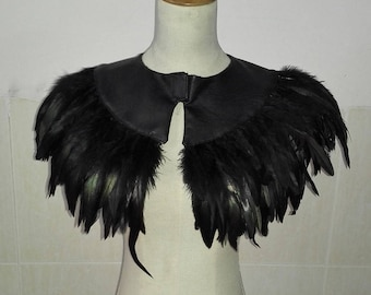 Amazing PU leather capelet edged with rooster coque feather# CW17008