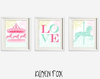 Pink Carousel wall art - carousel nursery art - kids wall art - Nursery Decor - mint carousel nursery art - love wall art