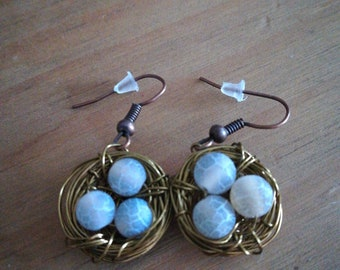 Birds nest earrings.