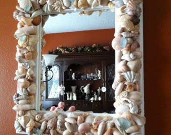Beautiful Natural Mirror with Sea Glass....Sale until June 30,2018