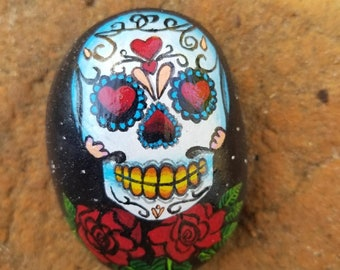 Sugar Skull Rose Painted Rock