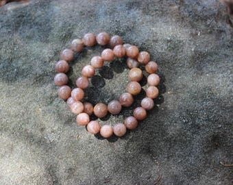 FREE SHIPPING Sunstone bead bracelet - (high grade Sunstone)