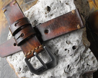 Watch Strap - Full Grain Premium Quality Italian Leather Suitable for Panerai Stainless Steel Massive Buckle