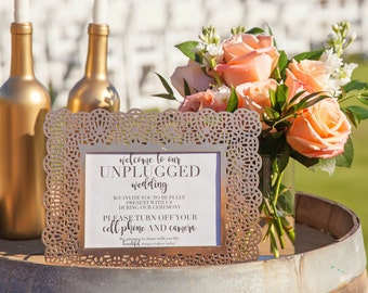 Unplugged Wedding Sign Digital Print out | No Cell Phone Wedding Sign