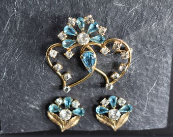 Brooch and Earring Set B&N 12K Gold Filled  with Two Interlocked Hearts and Blue and Clear Rhinestone Accents Vintage