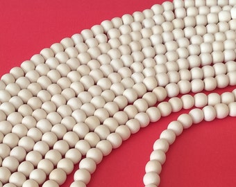 """8mm White Wood Beads, Natural Wood Beads, Bleached Dica 16"""" strand"""