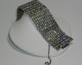 Stunning Vinatge TEN Row Wide Rhinestone Bracelet