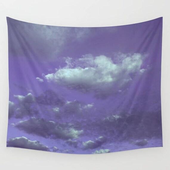 Purple Sky Wall Tapestry, Purple Cloudy Sky, Dorm, Office, modern home decor, nature, fine art, photography, inspirational,dreamy,Cloudy Sky