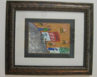 Cafe Framed Watercolor Painting