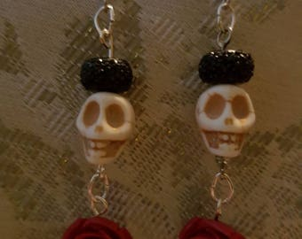 Skull and rose earrings
