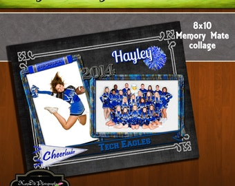 8x10 Memory Mate SPIRIT Cheer Cheerleading Collage or Storyboard Now Available for INSTANT download  PSD Template