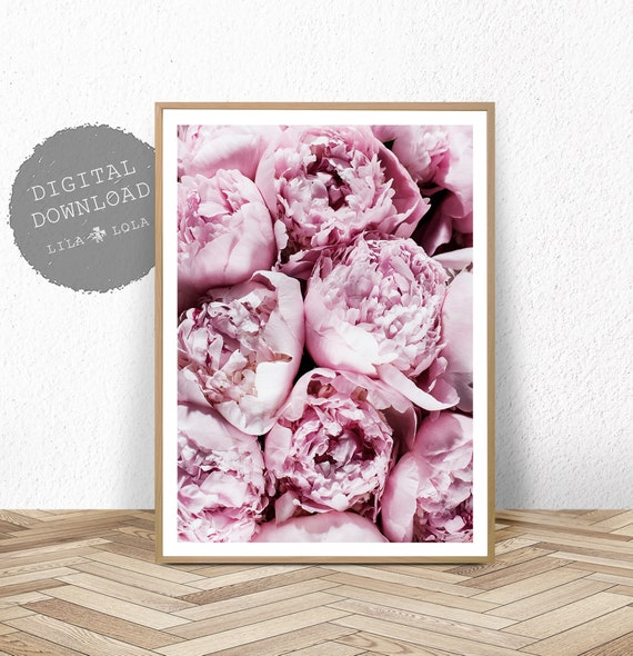 Printable Peonie, Bedroom Wall Decor, Peony Art Print, Pink Floral, Digital Download Poster, Flower Photography, Pennie Roses Print