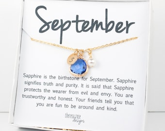 September Sapphire Birthstone Personalized Gold Necklace, Sapphire Necklace, September Birthstone Jewelry, Personalized Gold Necklace #877