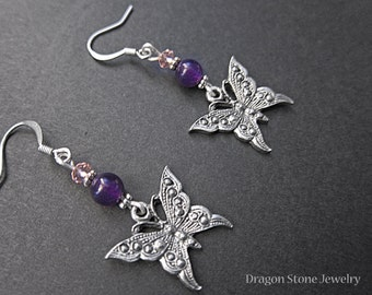 FINAL SALE: Butterfly Earrings with Amethyst and pink faceted beads